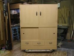 無垢、桐たんす、(桐戸棚)、幅4尺(1200mm)トノコ化粧仕上げ