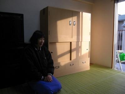 無垢の総桐たんす、(桐戸棚)、幅4尺、納品
