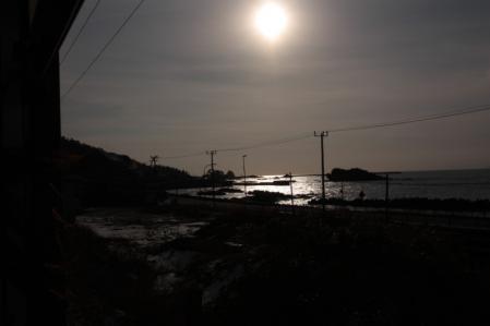 羽越本線2012-12-29夕日