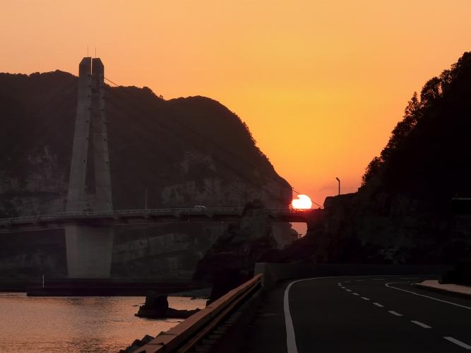 大明神橋の沈む夕陽