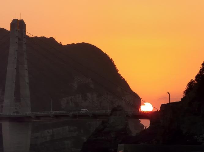 大明神橋の夕陽 2