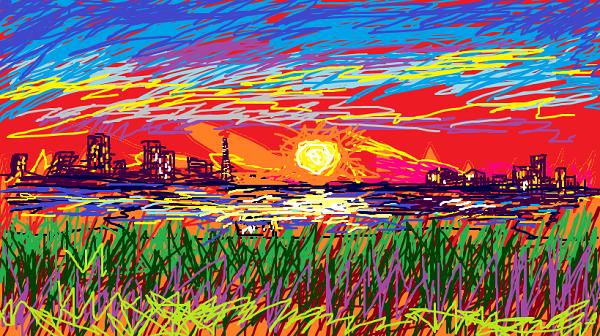 夕日の色は