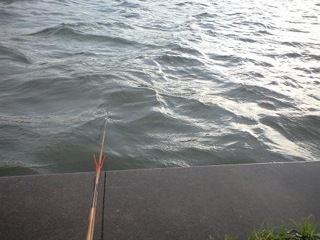 2012.5.17 波立つ川面と10尺竿