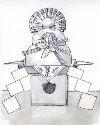 絵に描いた鏡餅 グリザイユ (321x400)