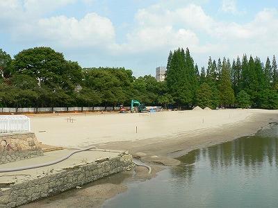 貯木場跡地干潮時は砂が現れます