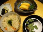 牡蠣飯とカキの吸い物とデザートの「柿」
