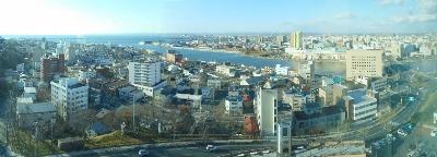 釧路幣舞橋付近のパノラマ写真