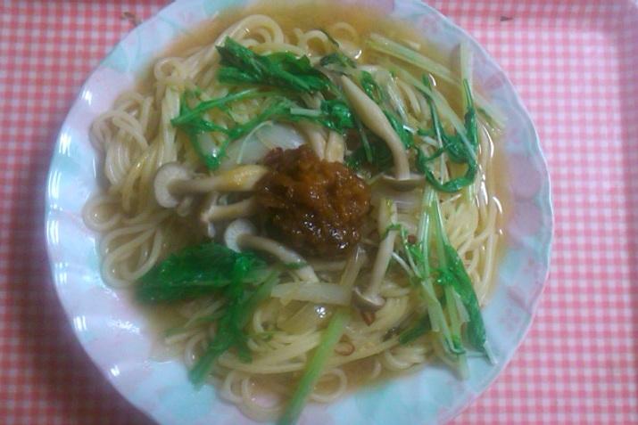水菜と味噌バターパスタ