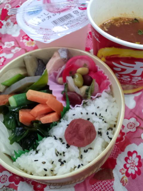 野菜スティック・鮭・煮物弁当