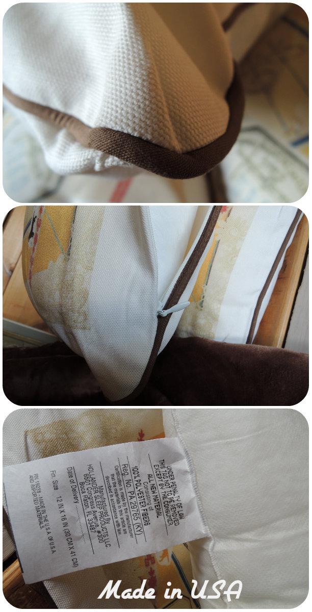 横長腰当てクッション(中綿付)アンティークコラージュ1