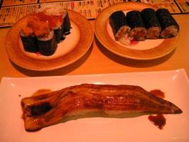 北の幸のっけ寿司、焼穴子、鉄火巻き