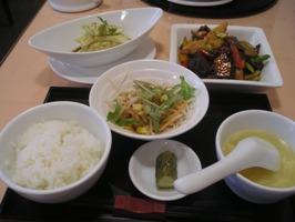 あいばランチセット(レバーと野菜の豆板醤いため)
