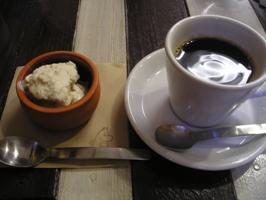 栗のアイスとコーヒー