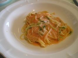 京水菜と明太子のオイルパスタ