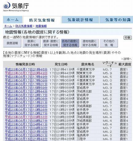 気象庁地震情報20110817