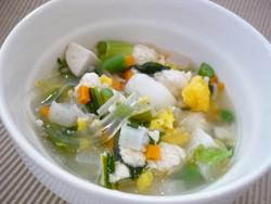 ヘルシーおから鶏団子の春雨スープ