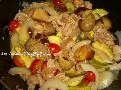 2012_0822 豚肉と夏野菜の甘酢炒め1