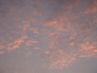 くもり空の朝焼け