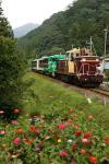 先行列車よりも多めに花を入れた