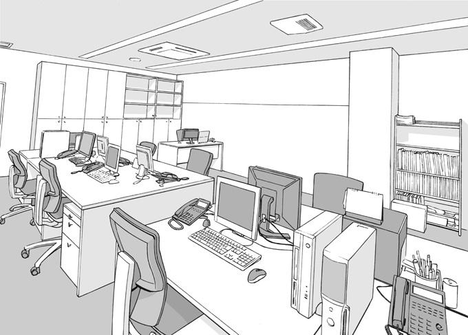 漫画背景・オフィス002