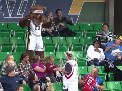 Jazz Bear Gets Even With Houston Rockets Beer Guy