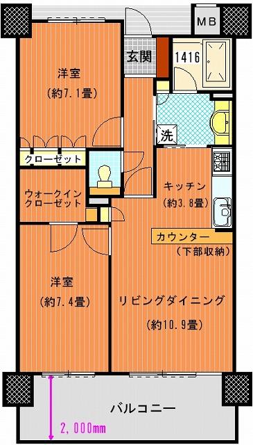 サーパス太田中央公園壱番館1002間取り図