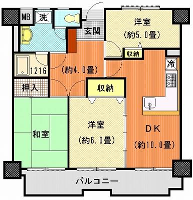 ライオンズマンション高松上福岡802間取り