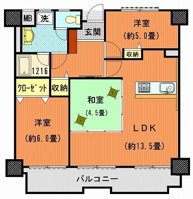 ライオンズマンション高松上福岡802間取り改