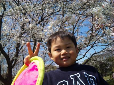 たっくん、桜と一緒。