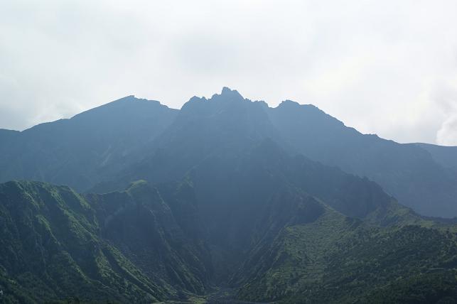 桜島の山々を眺める