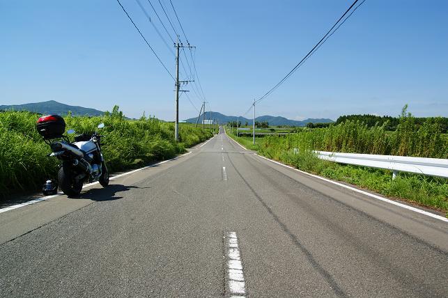 農作地帯を貫く一本道