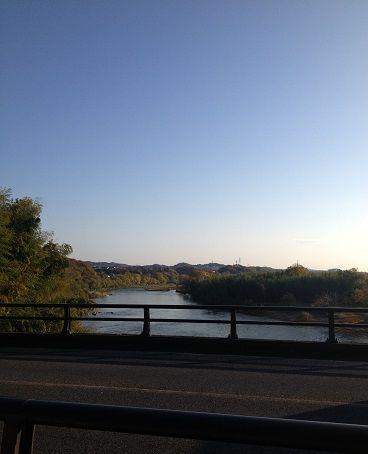 橋の上から川を見る