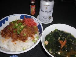 牛丼と海鮮汁で夕食