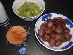 玉コン煮物とキャベツアンチョビ