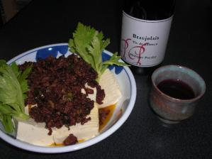 ネギとひき肉のオイスター炒め温豆腐かけ