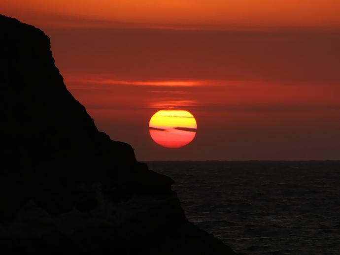 堂ヶ島から見た沈む夕日