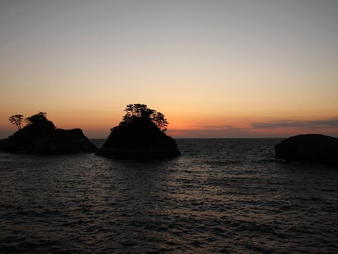 冬の堂ヶ島 日没後の風景