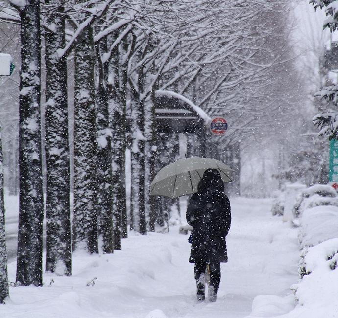 雪の中 歩く人