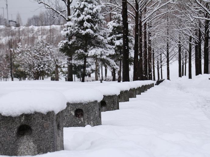 車止めに雪降り積もり