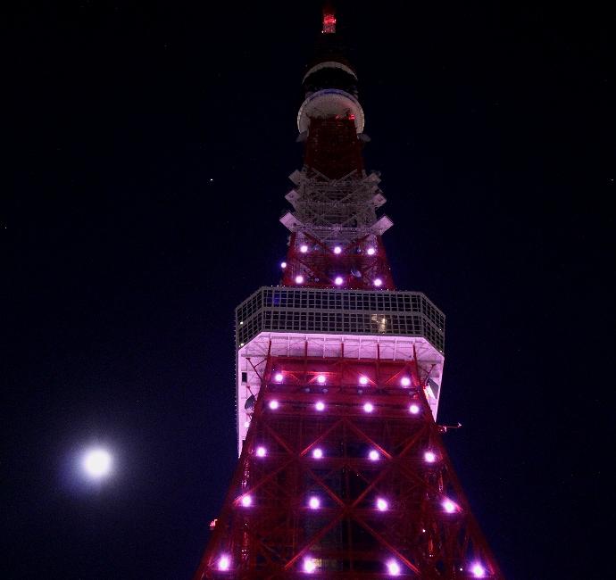 東京タワーと満月
