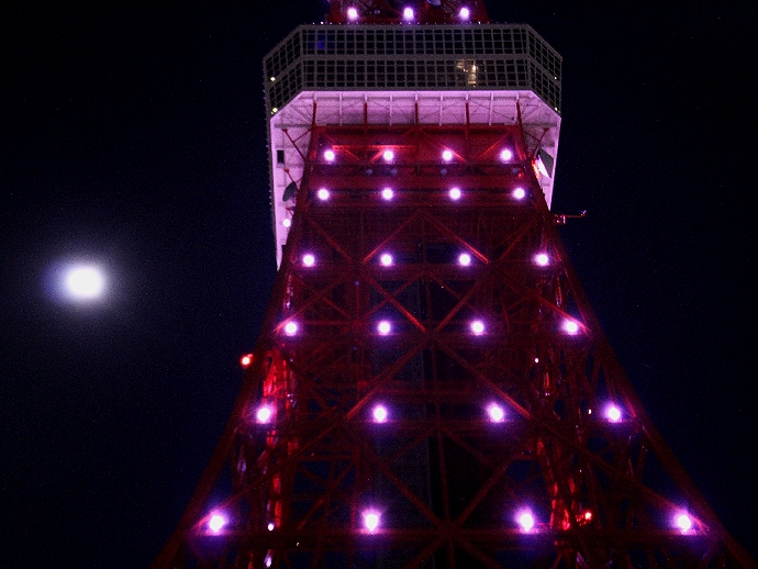 東京タワー満月ダイヤモンドヴェールと満月