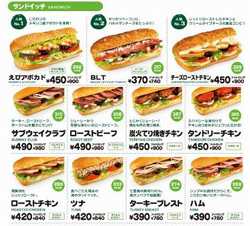 s-subway menu