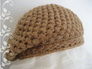 玉編みとスタークロッシェのベレー帽2