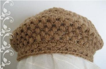 玉編みとスタークロッシェのベレー帽1