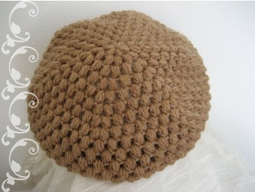 玉編みとスタークロッシェのベレー帽3
