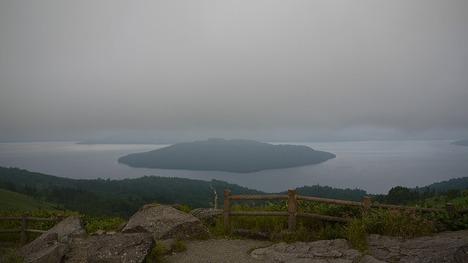 霧がかかってきた屈斜路湖