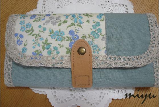 長財布(水色リネン)1