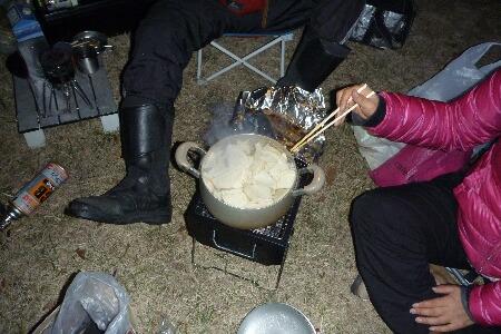 せんべい鍋作成中
