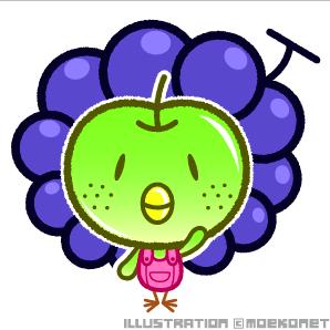 梨鳥ぶどう・イラスト