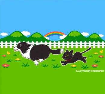 牧場で遊ぶ犬と猫のファンシーイラスト